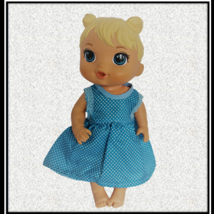 12 inch Baby Alive Blue Spotty Dress