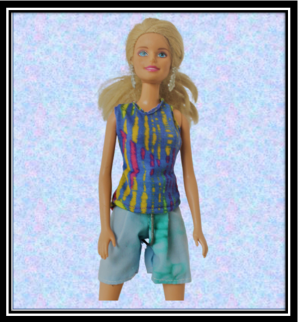 Barbie Blue Abstract Top and Blue Shorts