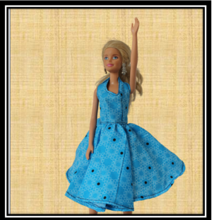 Barbie Blue Halter Neck Flare Dress