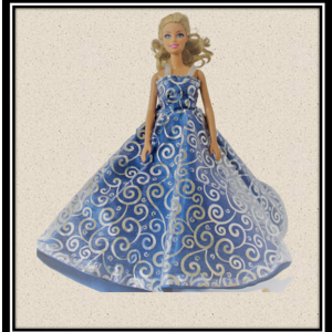 Barbie Blue and Silver Flared Evening Dress
