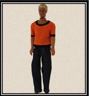 Ken Denim Jeans with Orange Tshirt with Black trim