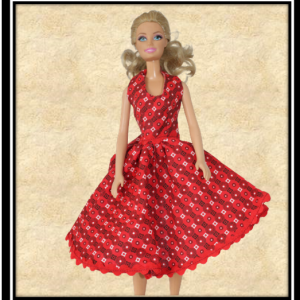Barbie Flared Halter Neck Red Patterned Dress