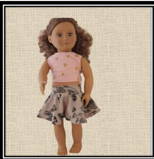 Our Generation Egyptian Geese Skirt and pink heart Top
