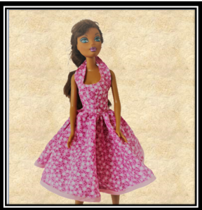 Barbie Pink Floral Halter Neck Flared Dress