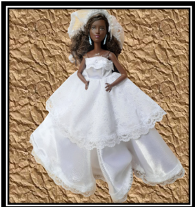 barbie White Satin Wedding dress