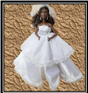 barbie White Satin Wedding dress