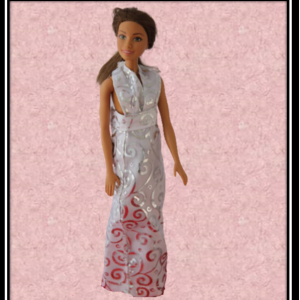 barbie White and silver Halter Wedding dress