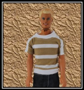 Ken Brown and White Striped Tshirt